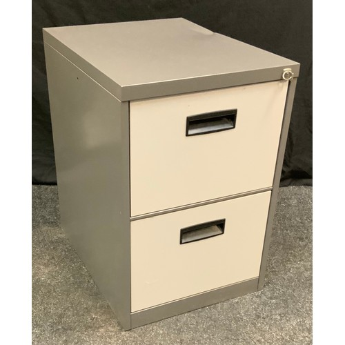 164 - A modern metal two drawer filing cabinet, 70cm high, 47cm wide, 62cm deep.