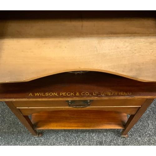 200 - A Edwardian mahogany A.Wilson, Peck & Co Ltd Sheffield music cabinet, rectangular top above five fal...