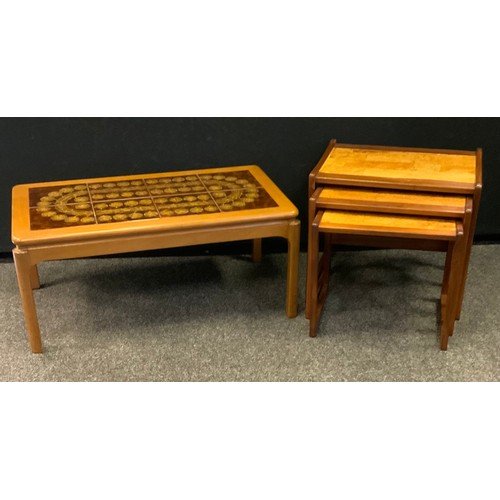 202 - A retro mid 20th century coffee table, rounded rectangular tiled top, 41cm high, 92cm long, 51cm wid...