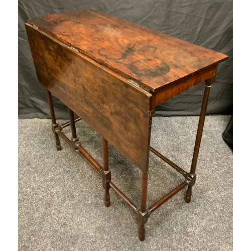 206 - An early George III single sided drop leaf occasional table, possibly red walnut, rectangular top, t...