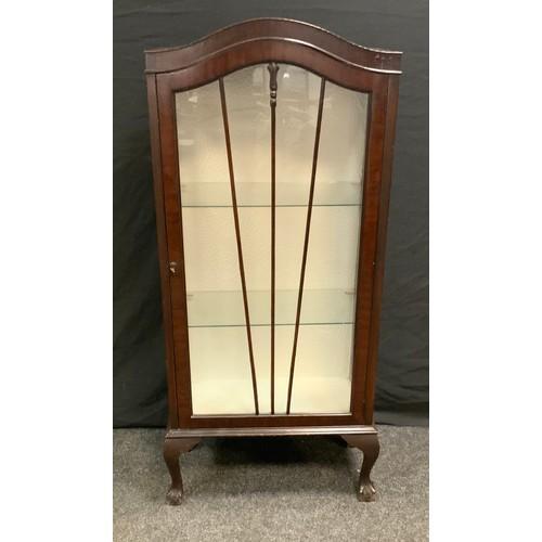 207 - An Edwardian Mahogany arch topped display cabinet, single fan door, cabriole legs, paw feet, 129.5cm...