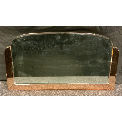 211 - A mid 20th century arched peach and clear glass mirror, beveled plate, 42.5cm x 78.5cm