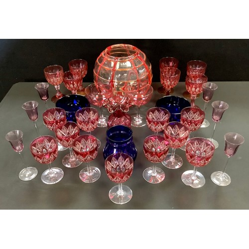 36 - Glassware - two Bristol Blue finger bowls;  a pair of Cranberry Champagne coupes, c.1880;  early 20t...