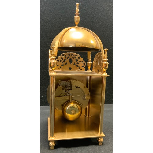 215 - A late 20th century lantern clock, brass case and dial, Roman numerals, mechanical movement, marked ...