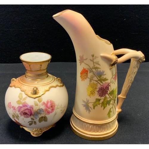 218 - A Royal Worcester Blush ivory tusk jug, similar globular vase
