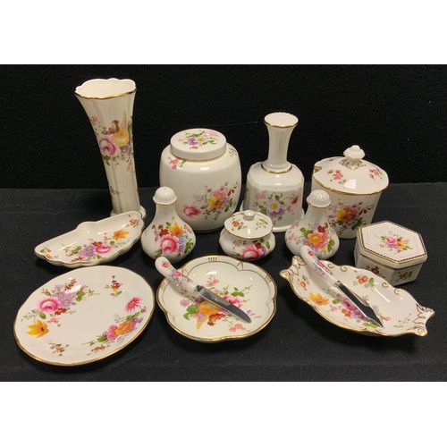 219 - A Royal Crown Derby Posies pattern ginger jar and cover;  others preserve pot, table bell, cruet set...