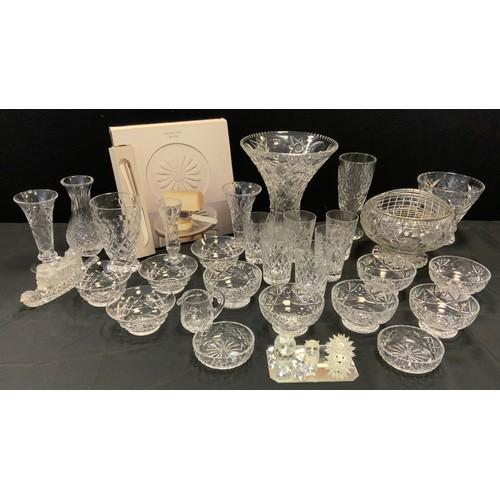 228 - Glassware - a set of six Webb Corbet lead crystal sundae dishes;  others Stuart; Swarovski animals, ...