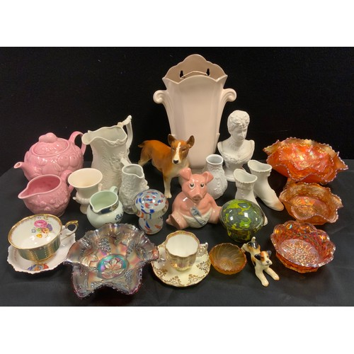 237 - Ceramics and glass - six assorted Carnival glass bowls; Wade money bank: Poole pottery wall pocket, ...