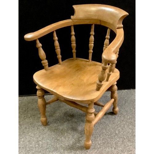 166 - Ash and Elm smokers bow, turned spindles, saddle seat, double `H` stretchers, turned legs