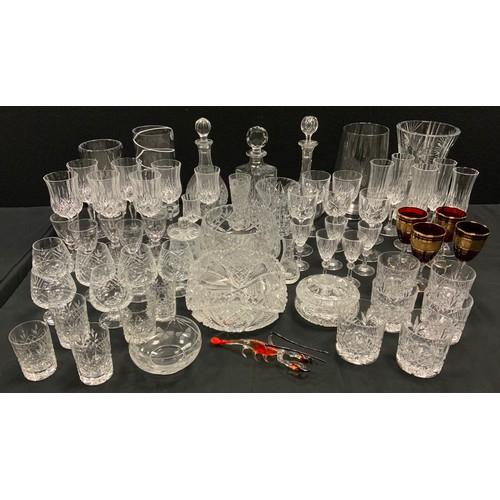 239 - Glass - an Edwardian cut glass decanter and stopper;  others;  cut glass vases, fruit bowls, stemwar...