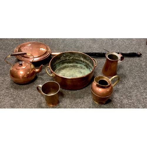 122 - Copper and brass - A two handled pan; jug, tankard, kettle and warming pan.