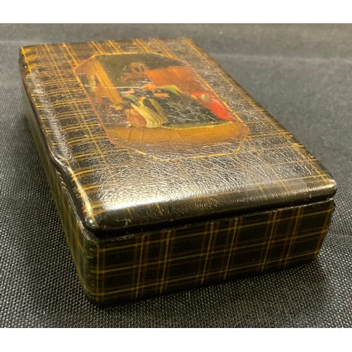 268 - A 19th century hand painted tartan ware rectangular snuff box, painted with a seated elderly lady an...