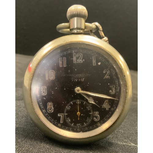 281 - A Military issue pocket watch, H Williamson Ltd London,  serial no 72944F, black dial, Arabic numera...