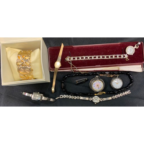 284 - Watches and costume Jewellery - a continental 935 silver open face ladies fob watch;  another 925 si...