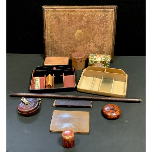 60 - A tooled leather writing board;  storage boxes, sectional trays etc *** Please note Trumps brush is ...