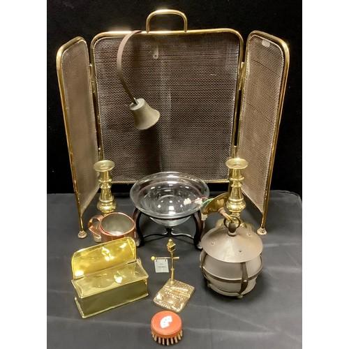 132 - Brass & Copper - a pair of brass candlesticks;  Novelty Trumps marker as a street lamp, Trumps card ...
