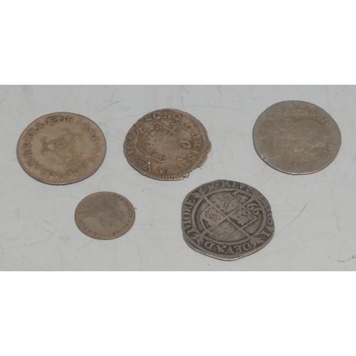 3951 - Coins, GB, AR Hammered and Milled, Elizabeth I 1566 threepence, 19mm, (1); Charles II threepence, [n...