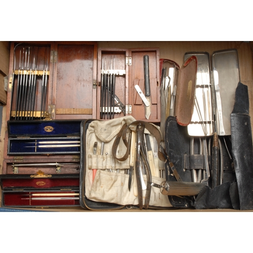 3780 - Medical - a set of surgical scalpels, mahogany case, 16.5cm wide; a field surgeon's set; other scalp...