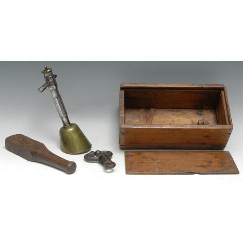 3476 - An early 20th century abattoir device, Greener's Humane Cattle Killer, 24cm long overall, cased en s...