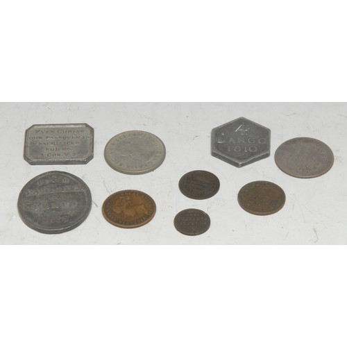 3948 - Coins and Tokens, Miscellaneous, GB: two George III Scottish communion tokens 1807 Four Parishes of ...