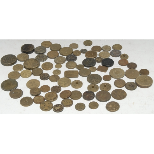 3932 - 17th century and later British brass coin weights, pennies to three pound twelve, various shapes and...
