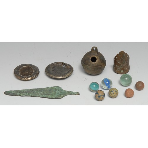 3567 - Antiquities and Metal Detector Finds - a bronze spear head, 11cm long; a bronze archer's thumb ring;...