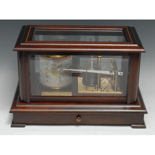 3513 - An Edwardian style mahogany barograph, by Russell, London, outlined with boxwood stringing, chart dr...