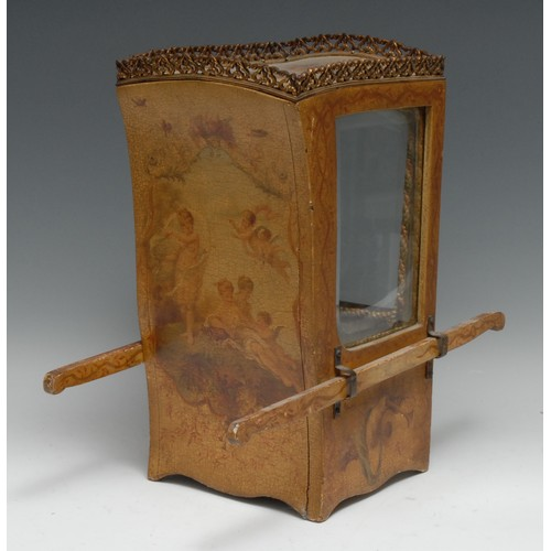 3178 - A French Louis XV Revival vernis Martin novelty table top bijouterie cabinet, as a sedan chair, pier...