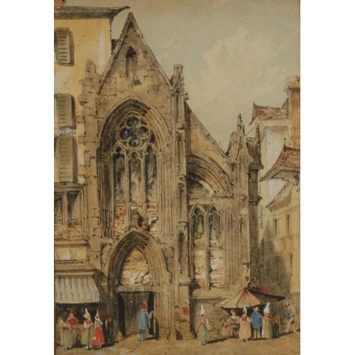 4007 - South European Grand Tour School (19th century)  A Medieval Gothic Church watercolour on paper, 16cm...