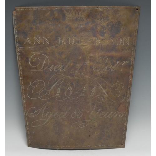 3680 - Memento Mori, The Macabre - a 19th century brass shaped rectangular coffin plate, Ann Richardson, Di...