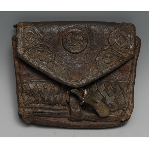 3583 - Costume - a 17th century red leather shaped rectangular purse or pouch, applied with brown leather r...