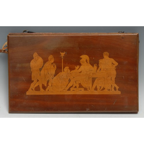 3063 - A 19th century marquetry rectangular blotter, inlaid in the Grand Tour taste with a tableau from Cla...
