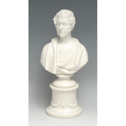 3279 - A Minton Parian portrait bust, of a gentleman in a toga, modelled by Gall, inscribed and dated 1849,...