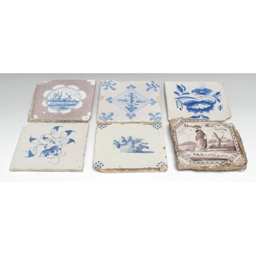3516 - An English Delft square tile, probably Wincanton, painted in underglaze blue with a rural landscape,...