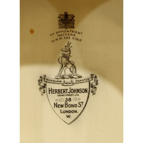 3186 - A gentleman's grey top hat, by Herbert Johnson, New Bond Street, London, size 7 1/4; another, by Wil...