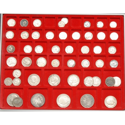 3955 - Coins, GB, silver coins, mainly 19th and early 20th century including sixpences 1819 AVF, 1839 AVF, ...