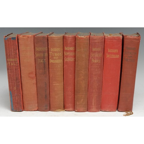 4204 - Travel - Baedeker Guides, nine volumes, including Northern Italy, 1868, the front free endpaper illu...