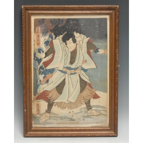 4032 - Japanese School (Meiji period), a Samurai warrior, woodblock print picked out in colour, 36cm x 24.5...