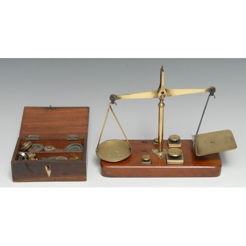 3374 - A set of 19th century brass and mahogany letter scales, by J & E Ratcliff, rounded rectangular base,...