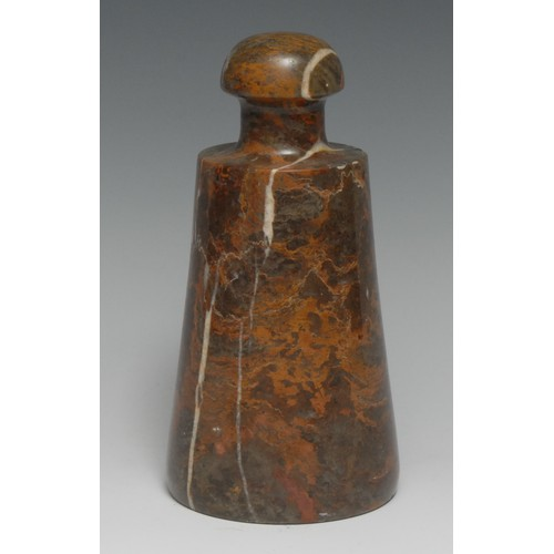 3495 - An early 20th century marble desk weight or door stop, domed handle, 20cm high