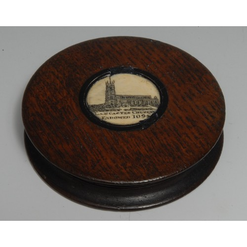 3723 - Treen - a 19th century salvaged oak waisted circular snuff box, the push-fitting cover centred by a ...