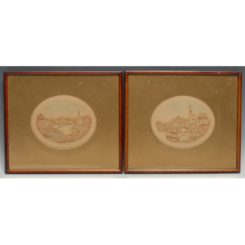 3300 - A pair of 19th century cork pictures, Babelsberg Castle and a companion topographical vignette, oval...