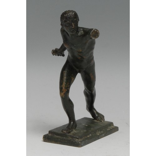 3628 - Grand Tour School, a verdigris patinated cabinet bronze, of a Roman gladiator, after the antique, re...
