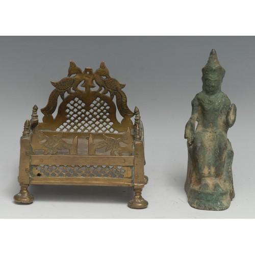 3165 - A Chinese/Thai verdigris bronze domestic shrine figure, cast as Buddha enthroned, 14cm high, 17th/18...