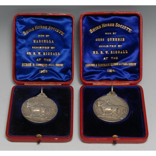 3600 - Equestrian - an Edwardian silver prize medal, The Shire Horse Society, Won by Marcella, Exhibited by...