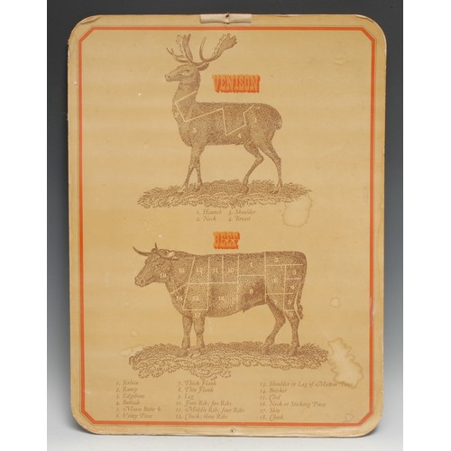 3428 - A vintage butcher's shop advertising show card, printed with diagrams of the cuts of venison &  beef...