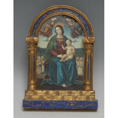 3547 - An Italian painted and parcel gilt connoisseur's picture frame, of architectural design, 18cm high, ...