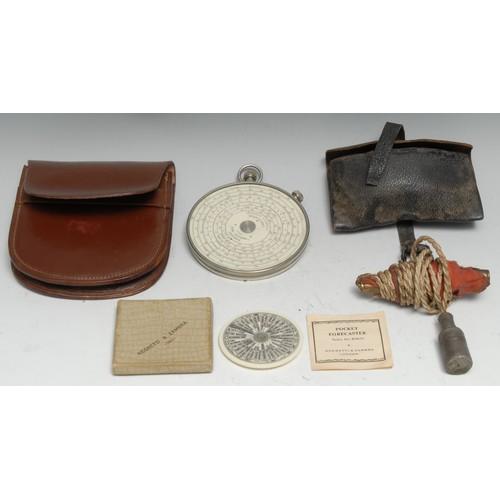 3771 - A Fowler's Twelve-Ten Patent Calculator, by Fowler & Co, Manchester, 9cm diam, leather case; a Negre...