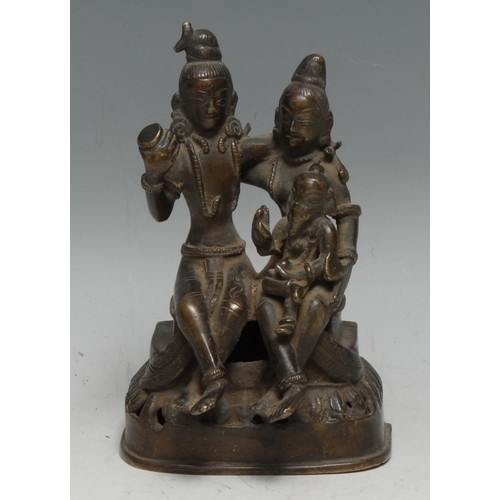 3631 - Indian School (19th century), a bronze group, Ganesh and his parents, 14cm high