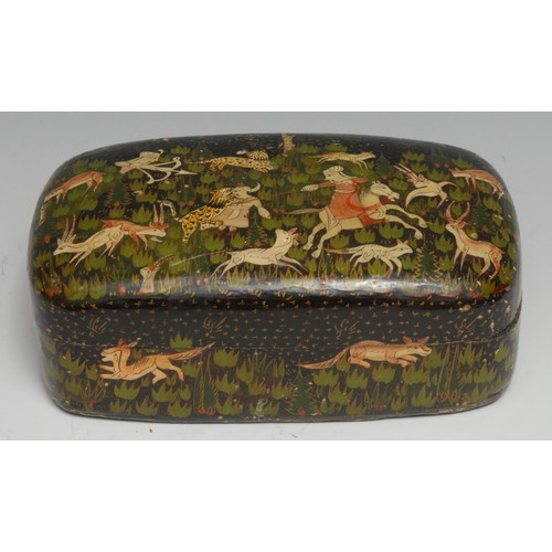 3538 - An Indian papier mache rounded rectangular pen box and cover, painted in the Persian taste with a hu...